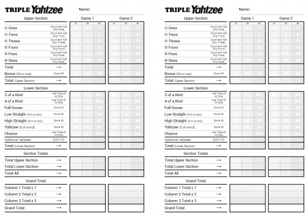 photograph relating to Yahtzee Printable known as  Triple Yahtzee Printable HTML Rating